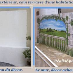 Décor peint mur terrasse ouverture murale vue sur paysage avant et après