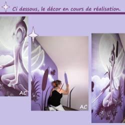 Décor peint fée chambre d'enfant